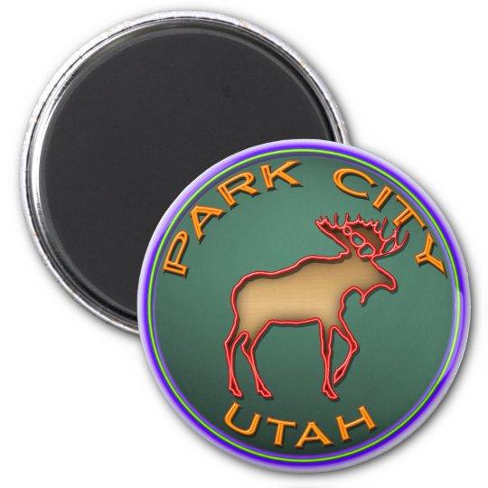 Beautiful Moose Medallion Park City Souvenir Magnet