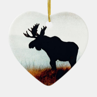 Beautiful Moose Double-Sided Heart Ceramic Christmas Ornament