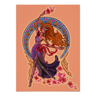 Beautiful morning goddes fairy flies with moon poster