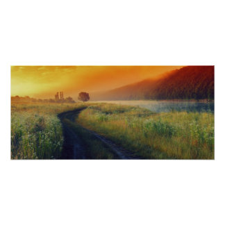 Beautiful morning landscape with the river poster