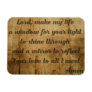 Beautiful morning prayer carved in wood magnet