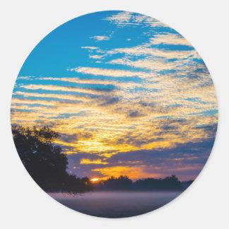 beautiful morning sunrise over farm land agricultu classic round sticker