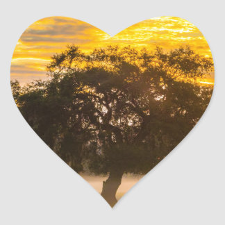 beautiful morning sunrise over farm land agricultu heart sticker