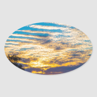 beautiful morning sunrise over farm land agricultu oval sticker