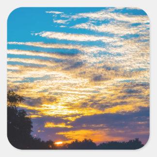 beautiful morning sunrise over farm land agricultu square sticker