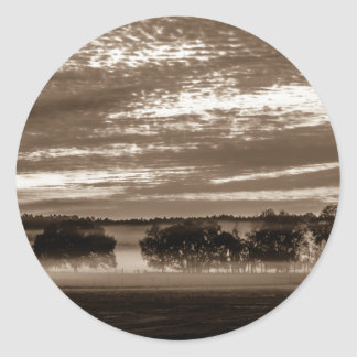 beautiful morning sunrise over farm land florida t classic round sticker