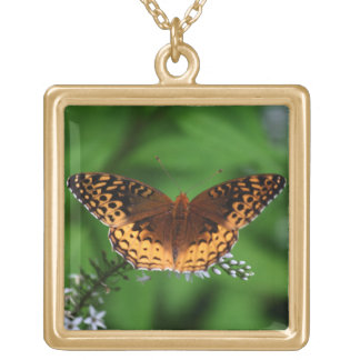 Beautiful Moth Square Pendant Necklace