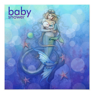 Beautiful Mother and Baby Mermaid Baby Shower Card