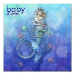 Beautiful Mother and Baby Mermaid Baby Shower 5.25x5.25 Square Paper Invitation Card