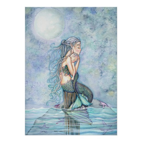 Beautiful Mother and Baby Mermaid Poster