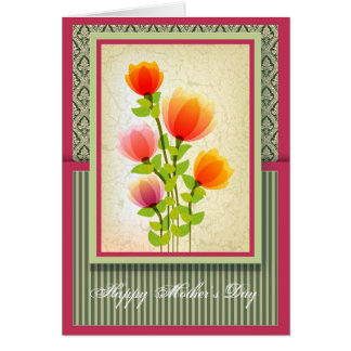 Beautiful Mothers Day Greeting Card with Damask