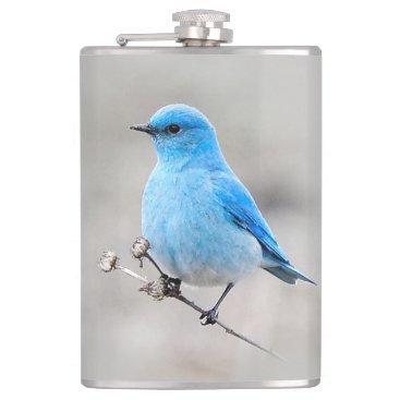 Beautiful Mountain Bluebird Hip Flask