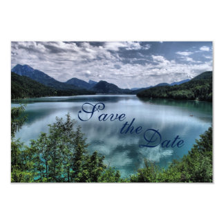 Beautiful Mountain Lake Wedding Save the Date Card