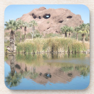 Beautiful Mountain Reflected in Lake Beverage Coaster
