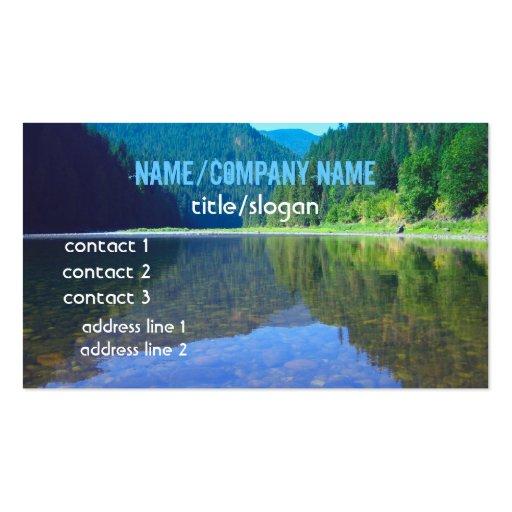 beautiful mountain river reflection business card