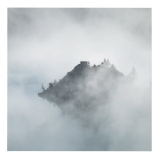 Beautiful mountain top in the clouds photo print