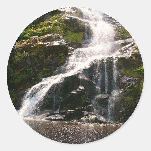 Beautiful Mountain Waterfall Round Stickers