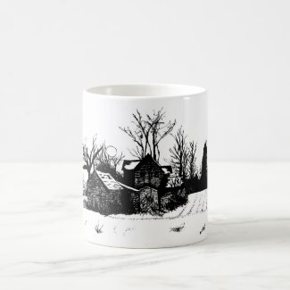 Beautiful Mug with Winter Farm Scene