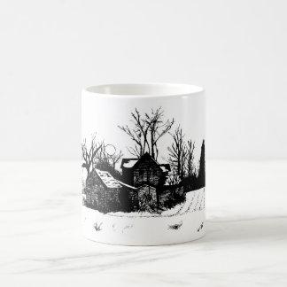 Beautiful Mug with Winter Farm Scene