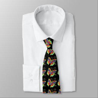 beautiful multi-colored butterflies black neck tie