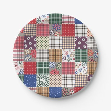 Diamond_Willow Beautiful Multicolored Patchwork Quilt Pattern Paper Plate