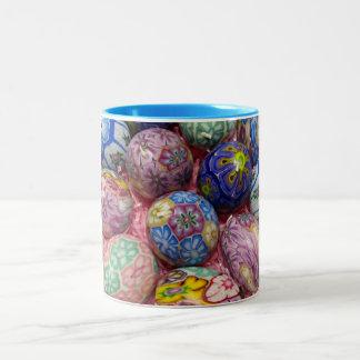 Beautiful multicolored wax Ukranian Eggs Coffee Mugs