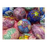 Beautiful multicolored wax Ukranian Eggs Postcard