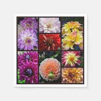 Beautiful multicoloured dahlias print on napkins