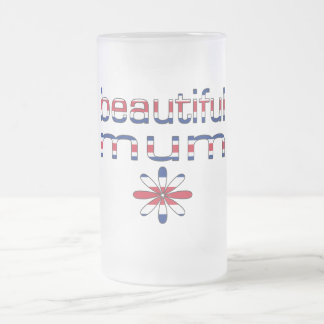 Beautiful Mum in Britain Flag Colors Frosted Glass Beer Mug