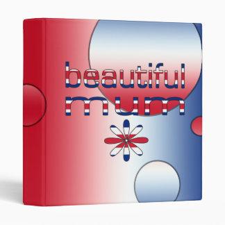 Beautiful Mum in Britain Flag Colors Pop Art 3 Ring Binder