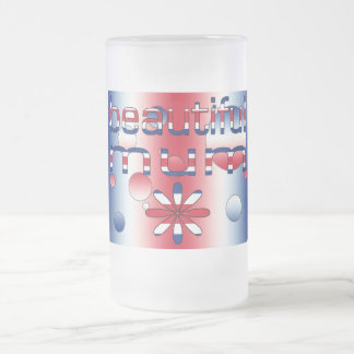 Beautiful Mum in Britain Flag Colors Pop Art Frosted Glass Beer Mug