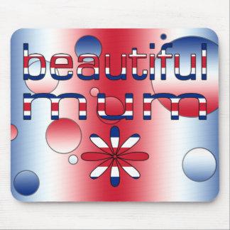 Beautiful Mum in Britain Flag Colors Pop Art Mouse Pad