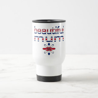 Beautiful Mum in Britain Flag Colors Travel Mug