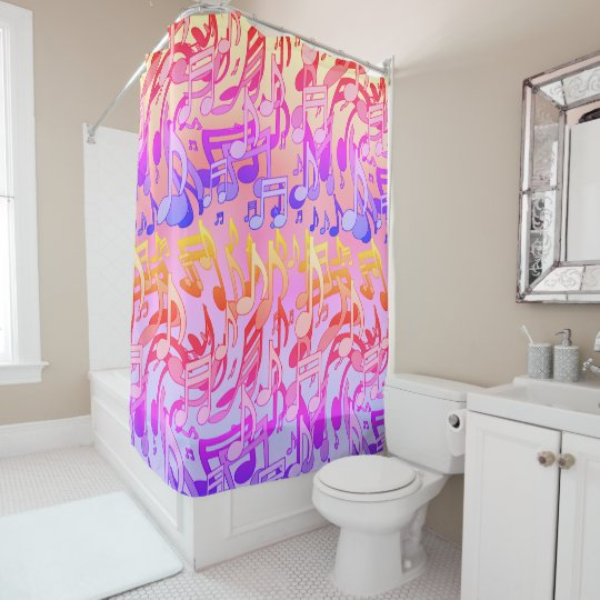 Beautiful Music Hy Colors Lively Musical Notes Shower Curtain