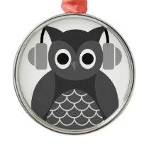 Beautiful Music Listning Owl Metal Ornament