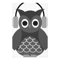 Beautiful Music Listning Owl Stationery