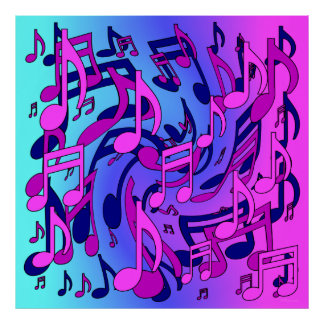 Beautiful Music Lively Musical Notes Dynamic Poster