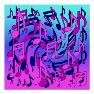 Beautiful Music Lively Musical Notes Expressive Print