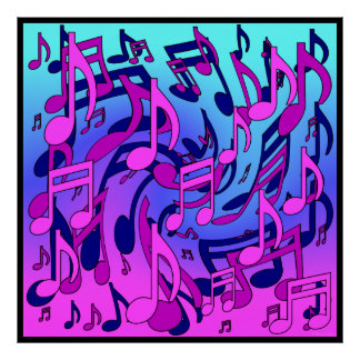 Beautiful Music Lively Musical Notes Pink Aqua Posters