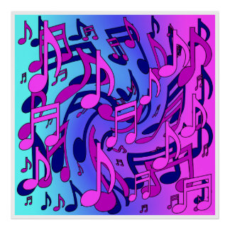 Beautiful Music Lively Musical Notes Pink Blue Art Poster