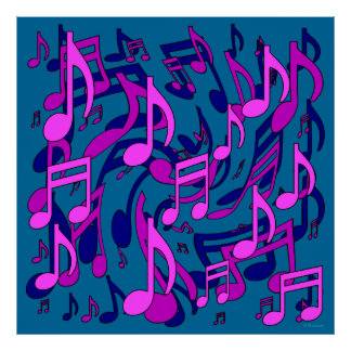 Beautiful Music Lively Musical Notes Pink Green Print