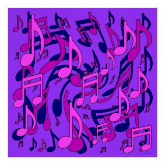 Beautiful Music Lively Musical Notes Pink Purple Print