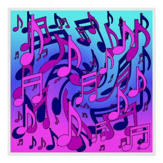 Beautiful Music Lively Musical Notes White Border Poster