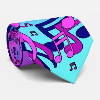 Beautiful Music Lively Notes Aqua Blue Purple Pink Neck Tie