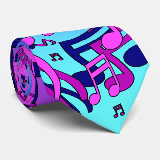 Beautiful Music Lively Notes Aqua Blue Purple Pink Tie
