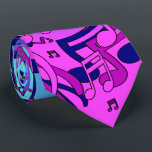 """Beautiful Music Lively Notes Pink Purple Blue Aqua Neck Tie<br><div class=""""desc"""">A lively pattern of music notes, eighth and sixteenth notes in pink, purple and blue, swirly semi abstracted design on pink blue aqua gradient. This bold tie makes a statement! Perfect for music fans, musicians such as guitar players, bass players, drummers, piano players, saxophone players, trumpet players, anyone who plays...</div>"""