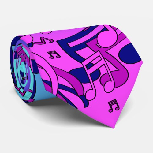 Beautiful Music Lively Notes Pink Purple Blue Aqua Neck Tie
