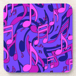 Beautiful Music Lively Pink Purple Musical Pattern Beverage Coasters