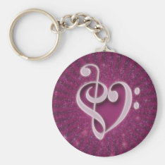 Beautiful Music Notes Put Together As A Heart Keychain at Zazzle