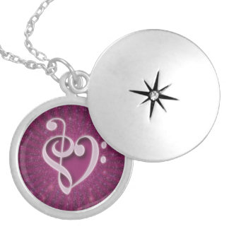 Beautiful music notes put together as a heart round locket necklace